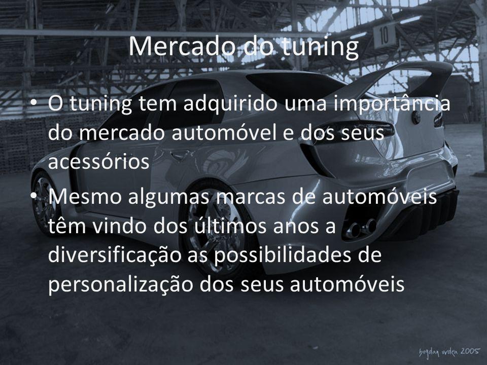 Mercado do tuning O tuning tem adquirido uma importância do mercado automóvel e dos seus acessórios.