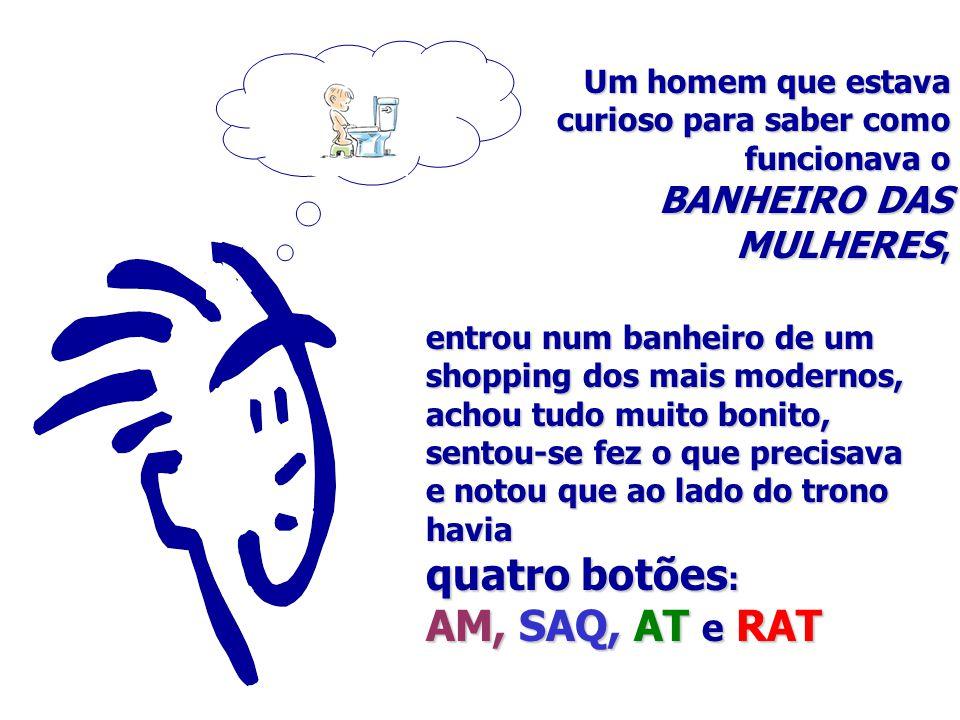 quatro botões: AM, SAQ, AT e RAT BANHEIRO DAS MULHERES,