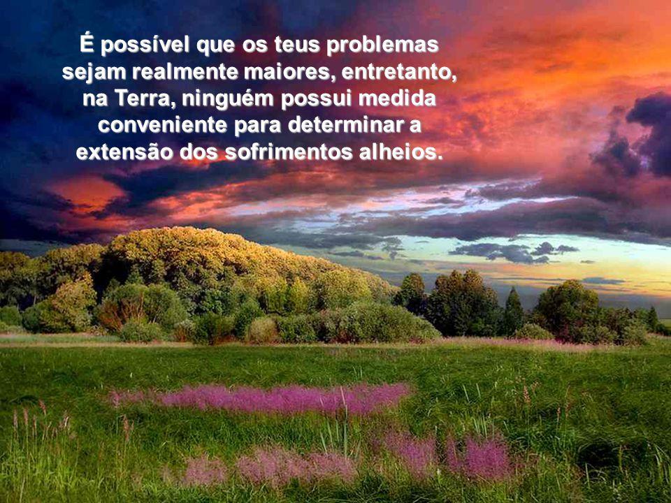 É possível que os teus problemas sejam realmente maiores, entretanto, na Terra, ninguém possui medida conveniente para determinar a extensão dos sofrimentos alheios.