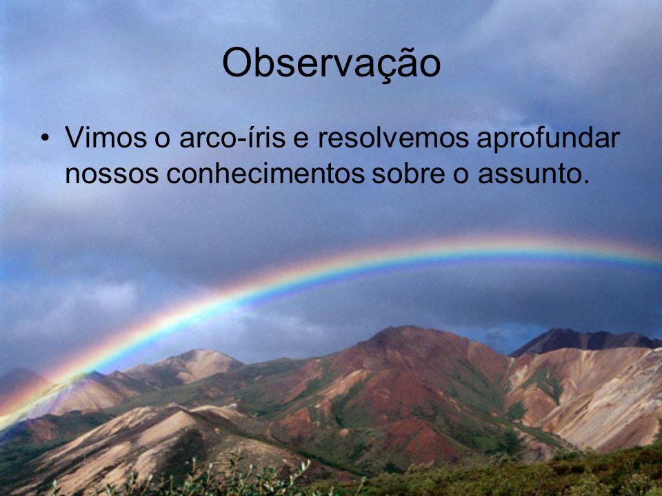 Observação Vimos o arco-íris e resolvemos aprofundar nossos conhecimentos sobre o assunto.