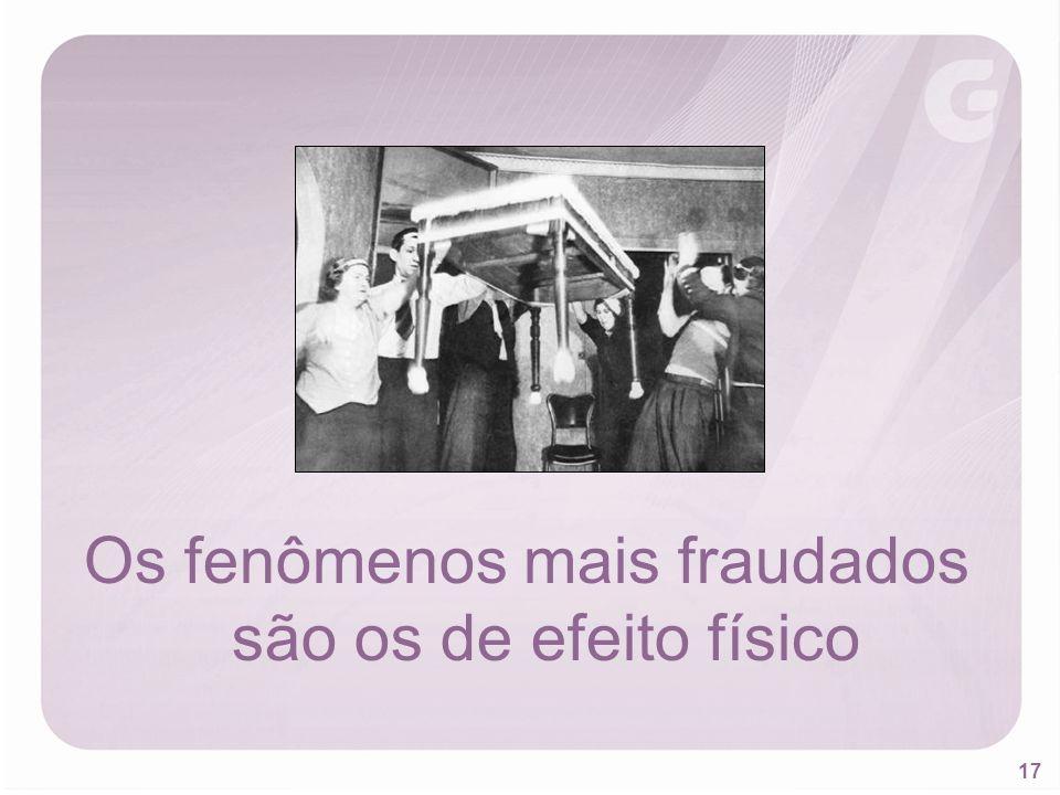Os fenômenos mais fraudados são os de efeito físico