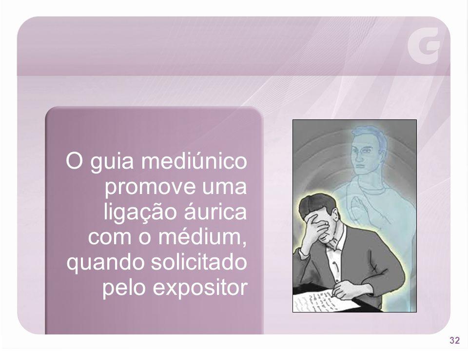 O guia mediúnico promove uma ligação áurica com o médium, quando solicitado pelo expositor