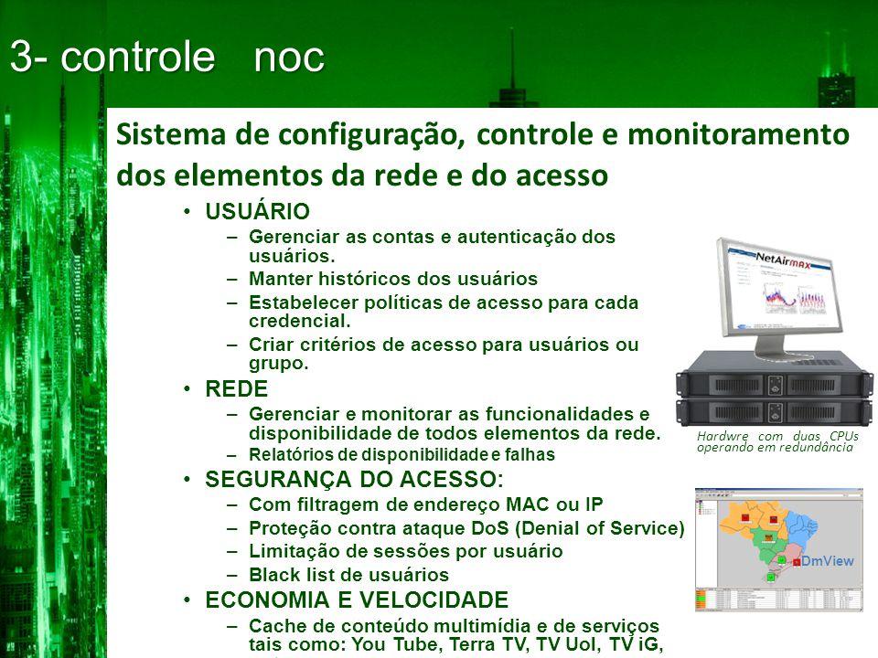 3- controle noc Sistema de configuração, controle e monitoramento dos elementos da rede e do acesso.