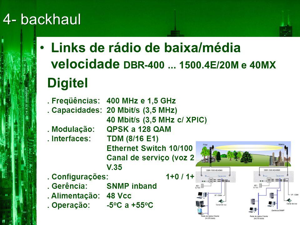 4- backhaul Links de rádio de baixa/média velocidade DBR-400 ... 1500.4E/20M e 40MX. Digitel. . Freqüências: 400 MHz e 1,5 GHz.