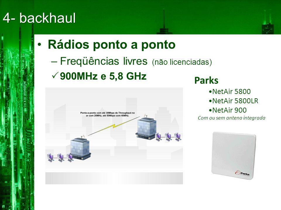 4- backhaul Rádios ponto a ponto Freqüências livres (não licenciadas)