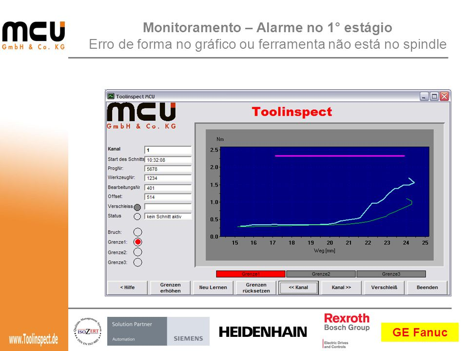 Monitoramento – Alarme no 1° estágio Erro de forma no gráfico ou ferramenta não está no spindle