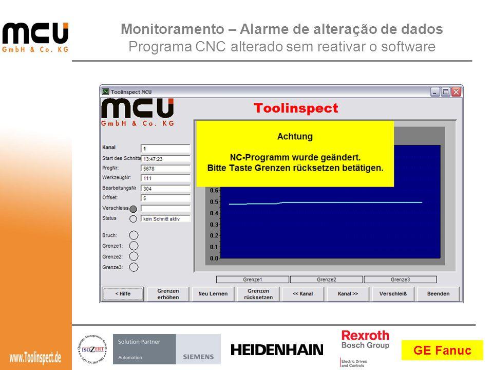 Monitoramento – Alarme de alteração de dados Programa CNC alterado sem reativar o software