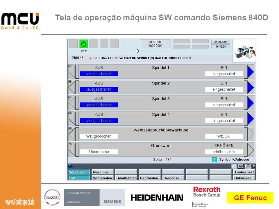Tela de operação máquina SW comando Siemens 840D