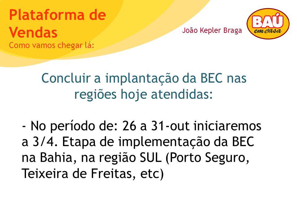 Concluir a implantação da BEC nas regiões hoje atendidas:
