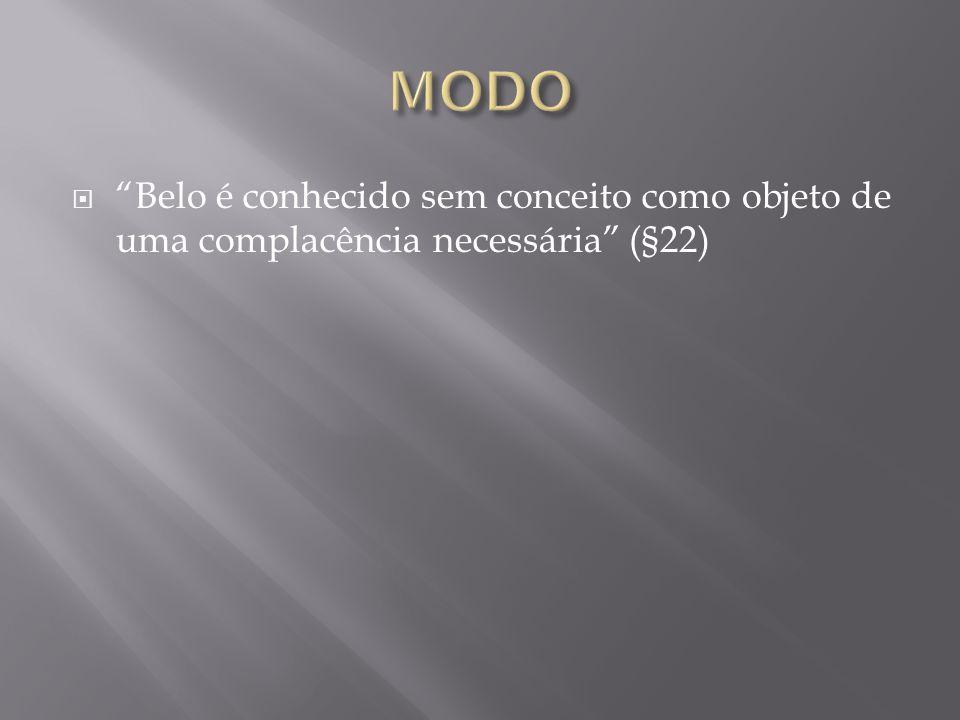 MODO Belo é conhecido sem conceito como objeto de uma complacência necessária (§22)