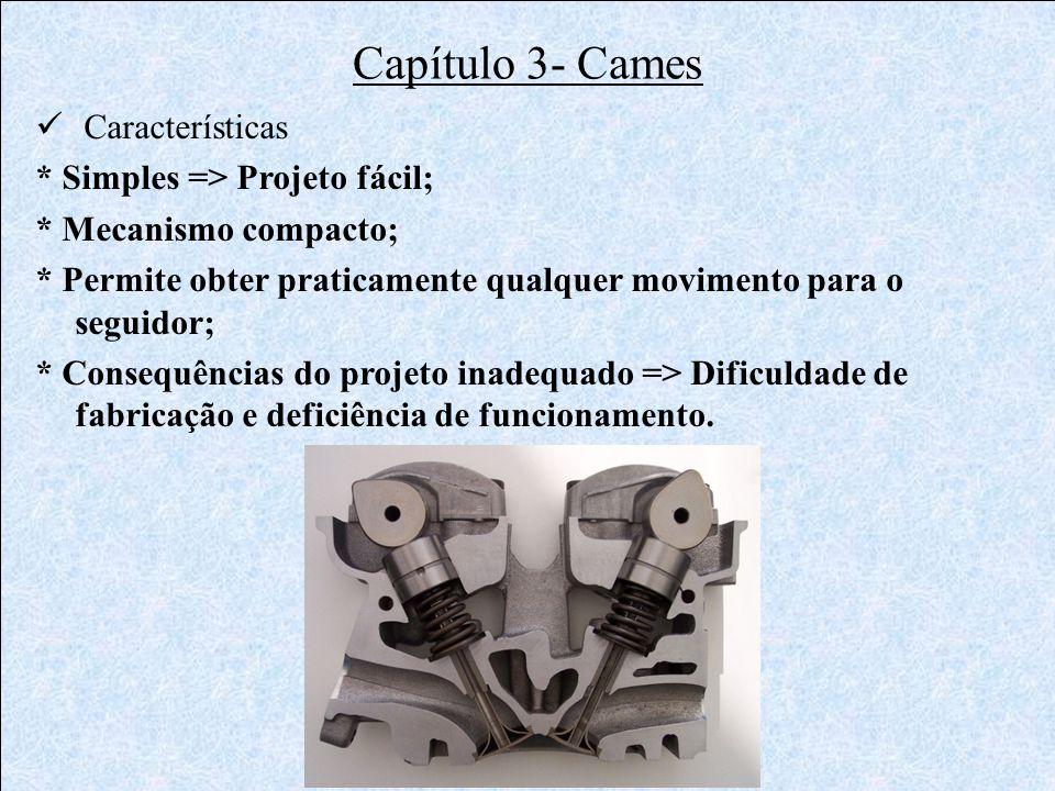 Capítulo 3- Cames Características * Simples => Projeto fácil;
