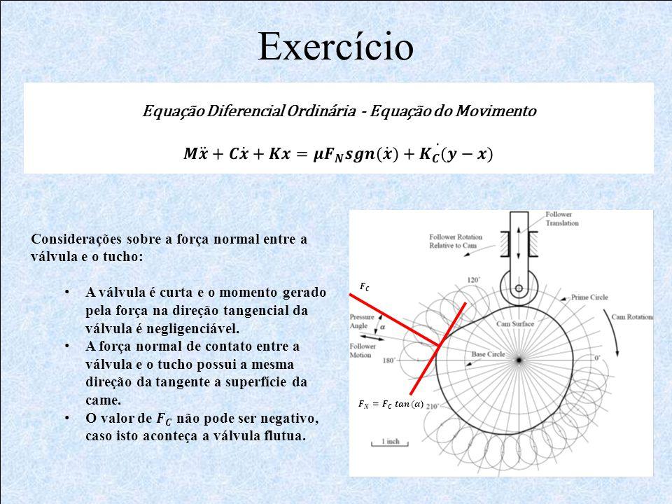 Exercício Equação Diferencial Ordinária - Equação do Movimento