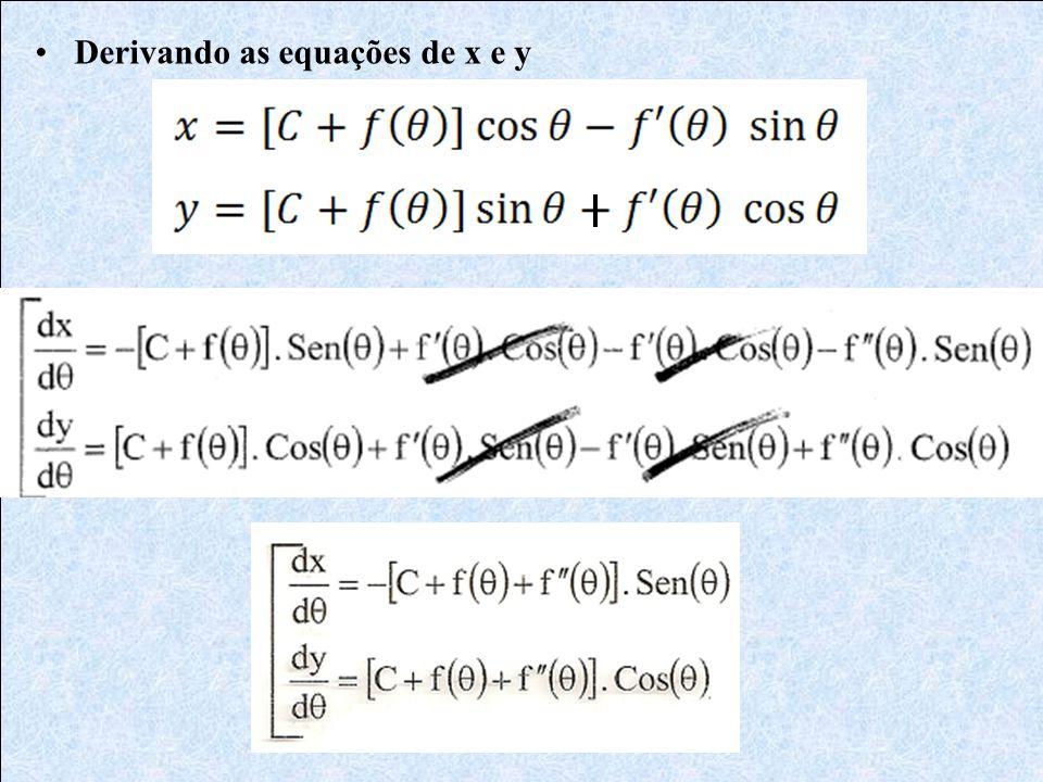 Derivando as equações de x e y