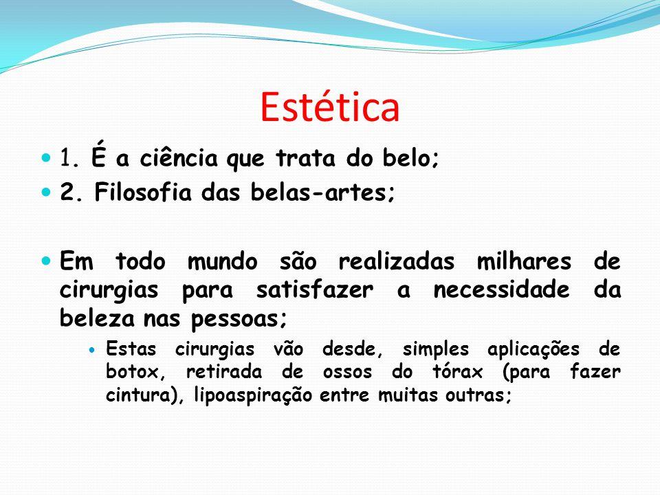 Estética 1. É a ciência que trata do belo;