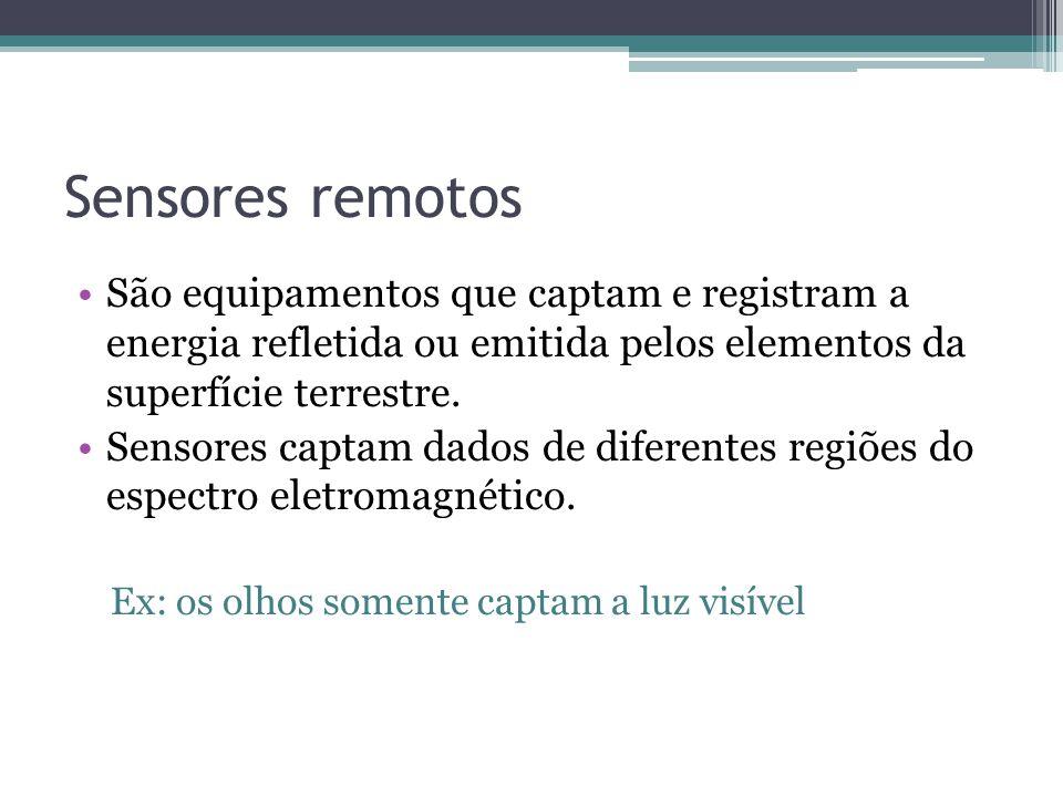 Sensores remotos São equipamentos que captam e registram a energia refletida ou emitida pelos elementos da superfície terrestre.