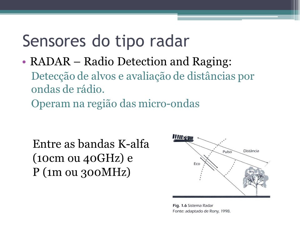 Sensores do tipo radar RADAR – Radio Detection and Raging: