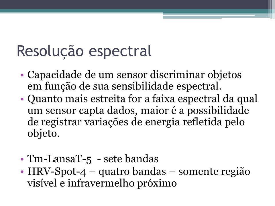 Resolução espectral Capacidade de um sensor discriminar objetos em função de sua sensibilidade espectral.