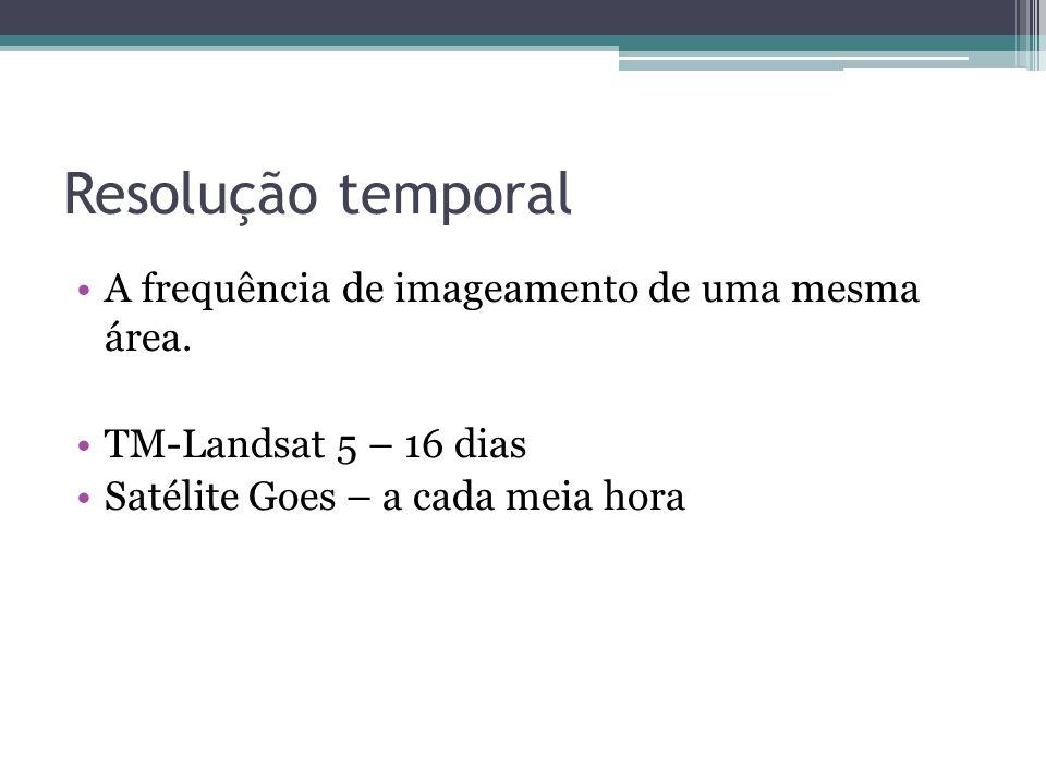 Resolução temporal A frequência de imageamento de uma mesma área.