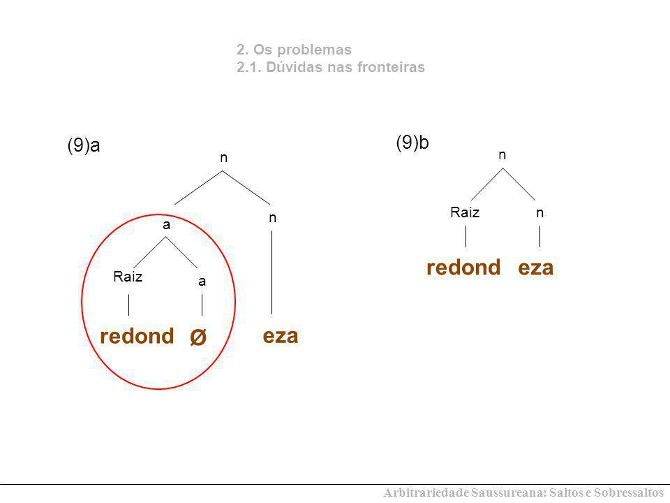 redond eza redond Ø eza (9)b (9)a 2. Os problemas