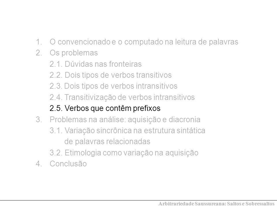 O convencionado e o computado na leitura de palavras Os problemas