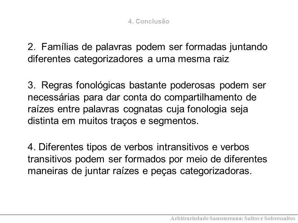 4. Conclusão 2. Famílias de palavras podem ser formadas juntando diferentes categorizadores a uma mesma raiz.