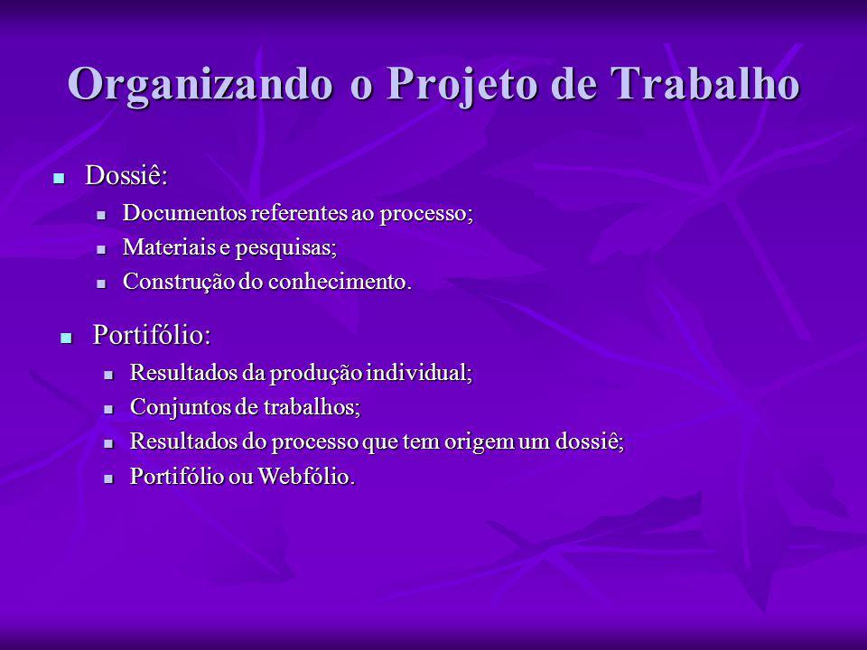 Organizando o Projeto de Trabalho