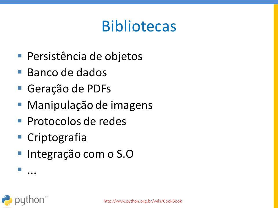 Bibliotecas Persistência de objetos Banco de dados Geração de PDFs