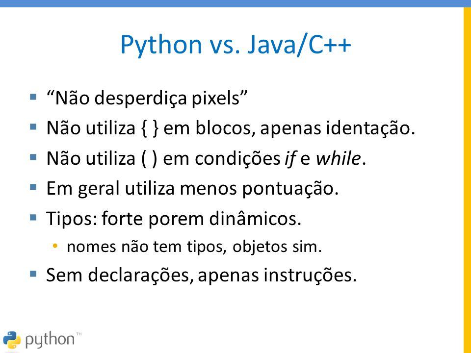 Python vs. Java/C++ Não desperdiça pixels