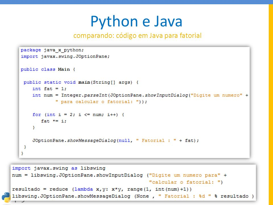 Python e Java comparando: código em Java para fatorial