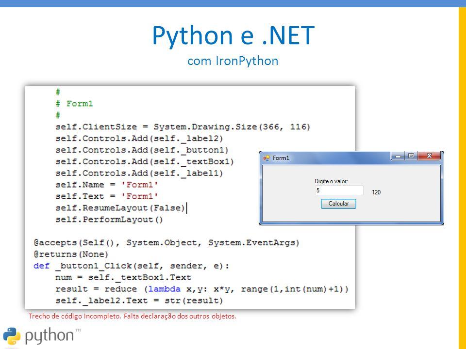Python e .NET com IronPython