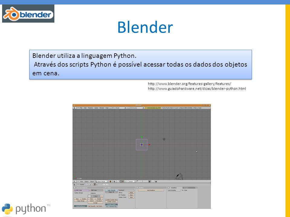Blender Blender utiliza a linguagem Python.