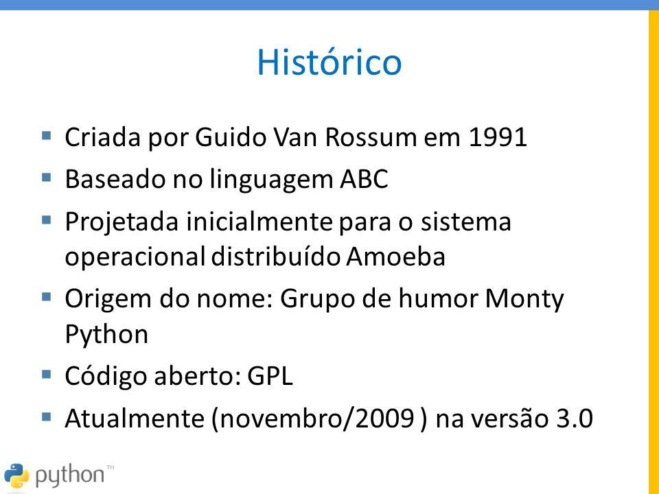 Histórico Criada por Guido Van Rossum em 1991 Baseado no linguagem ABC