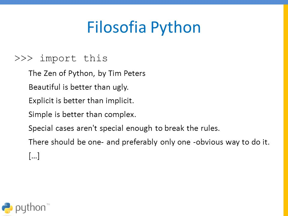 Filosofia Python >>> import this