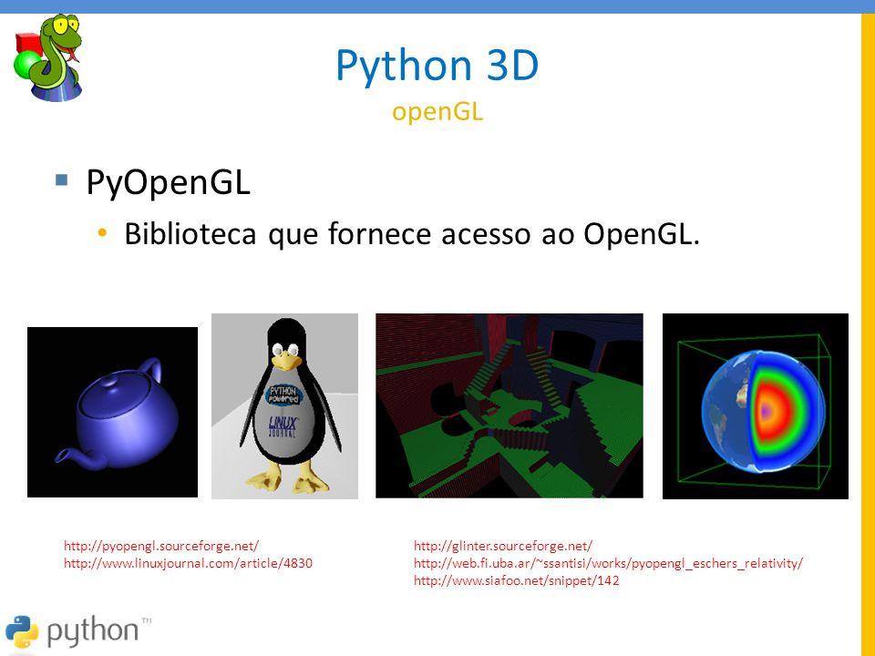 Python 3D openGL PyOpenGL Biblioteca que fornece acesso ao OpenGL.