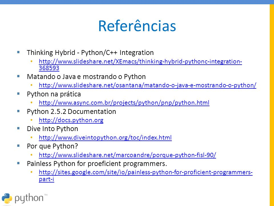 Referências Thinking Hybrid - Python/C++ Integration