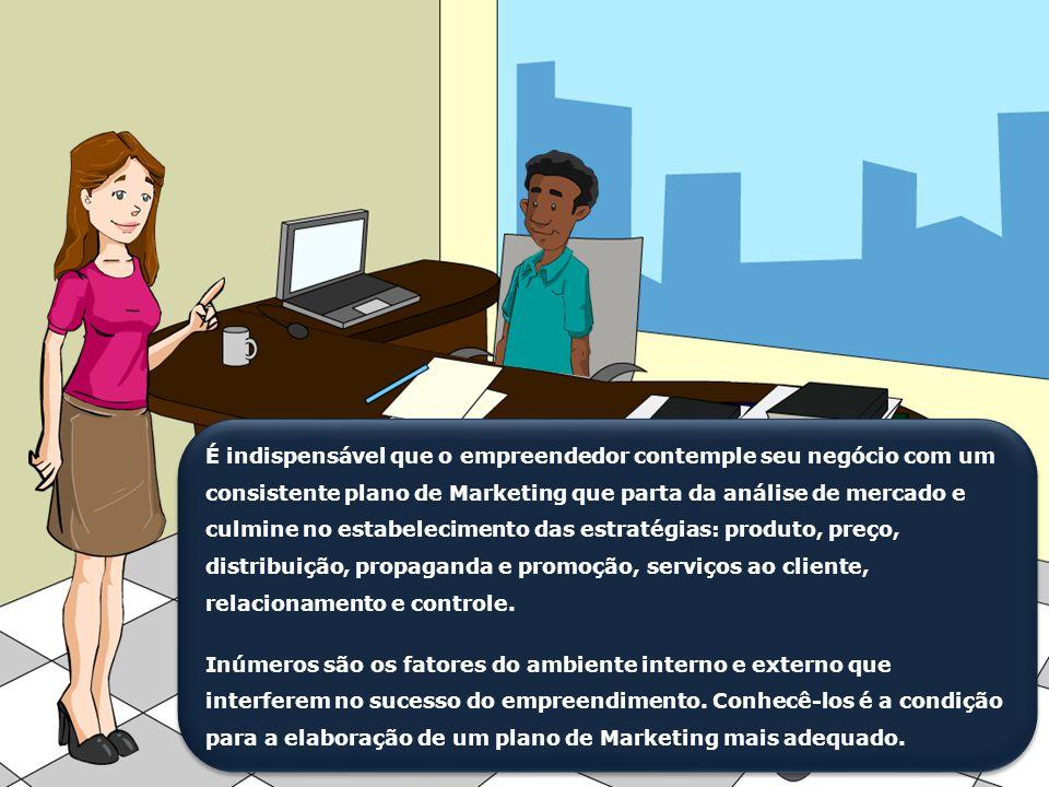 É indispensável que o empreendedor contemple seu negócio com um consistente plano de Marketing que parta da análise de mercado e culmine no estabelecimento das estratégias: produto, preço, distribuição, propaganda e promoção, serviços ao cliente, relacionamento e controle.