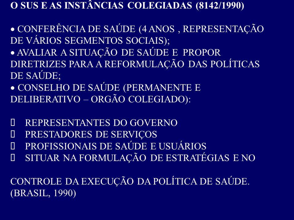 O SUS E AS INSTÂNCIAS COLEGIADAS (8142/1990)