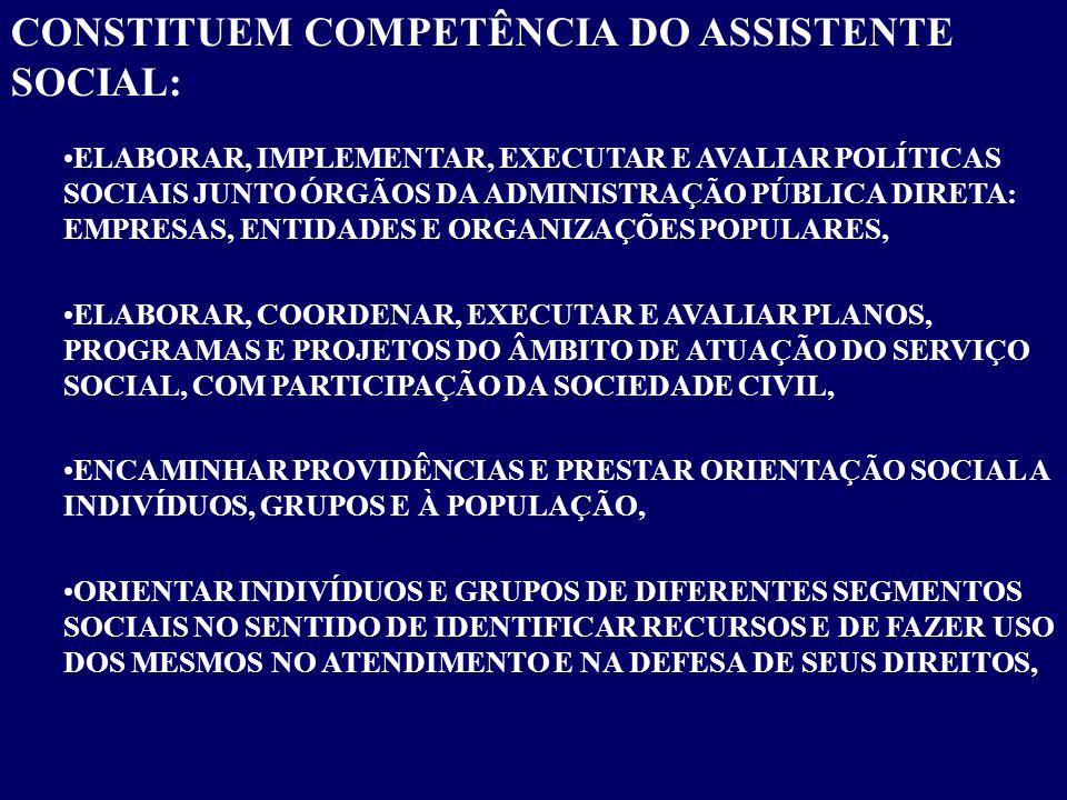 CONSTITUEM COMPETÊNCIA DO ASSISTENTE SOCIAL: