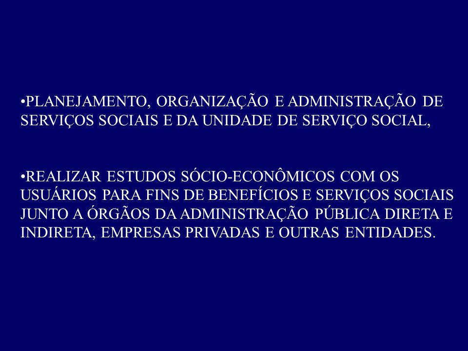 PLANEJAMENTO, ORGANIZAÇÃO E ADMINISTRAÇÃO DE SERVIÇOS SOCIAIS E DA UNIDADE DE SERVIÇO SOCIAL,