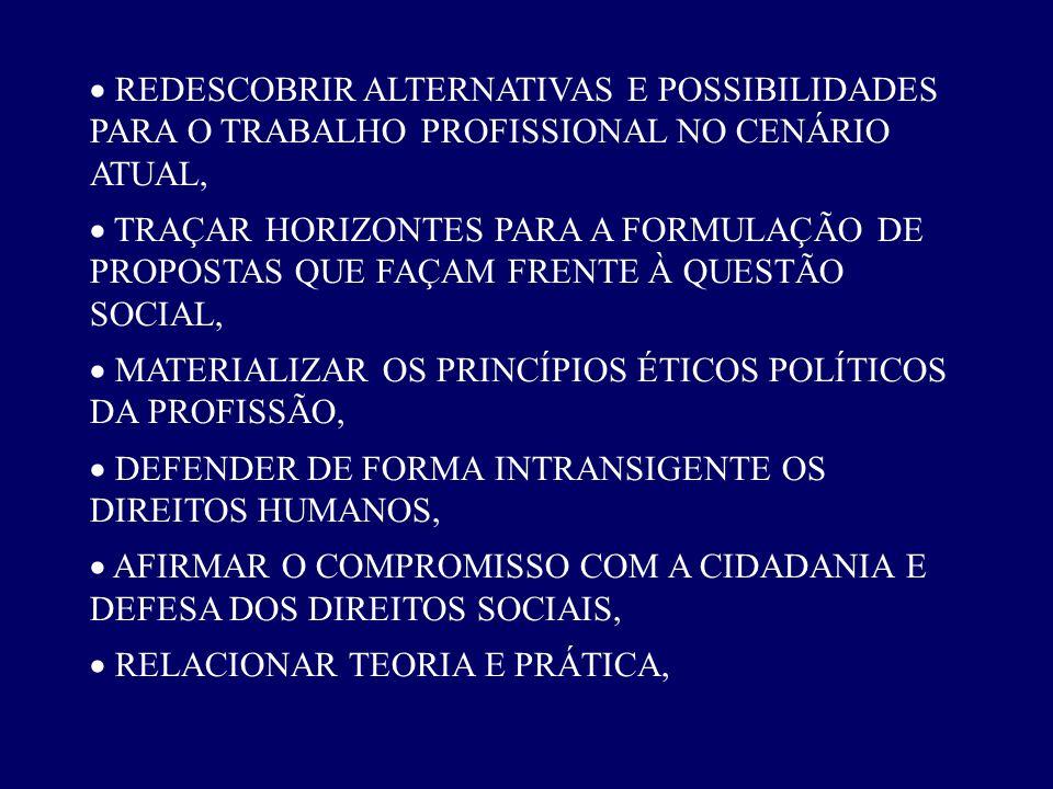 · REDESCOBRIR ALTERNATIVAS E POSSIBILIDADES PARA O TRABALHO PROFISSIONAL NO CENÁRIO ATUAL,
