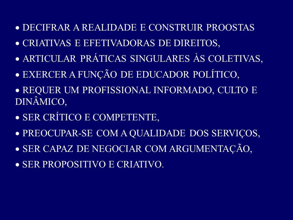 DECIFRAR A REALIDADE E CONSTRUIR PROOSTAS