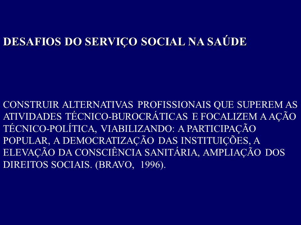 DESAFIOS DO SERVIÇO SOCIAL NA SAÚDE