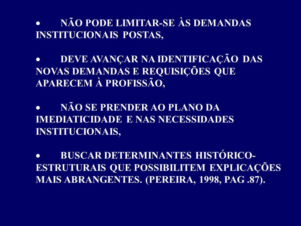 · NÃO PODE LIMITAR-SE ÀS DEMANDAS INSTITUCIONAIS POSTAS,