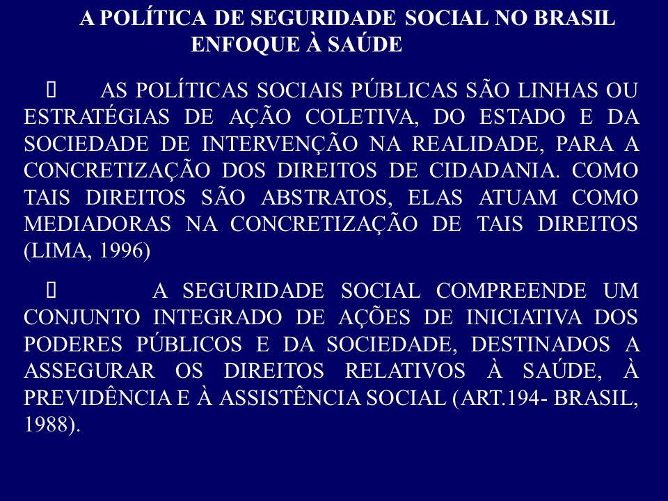 A POLÍTICA DE SEGURIDADE SOCIAL NO BRASIL