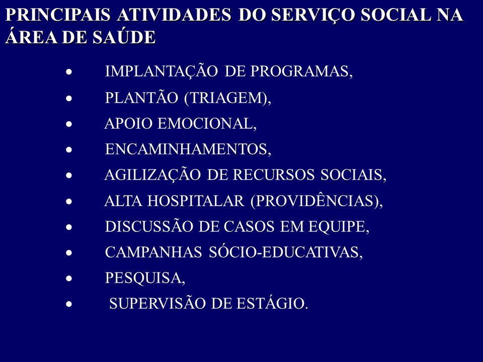 PRINCIPAIS ATIVIDADES DO SERVIÇO SOCIAL NA ÁREA DE SAÚDE
