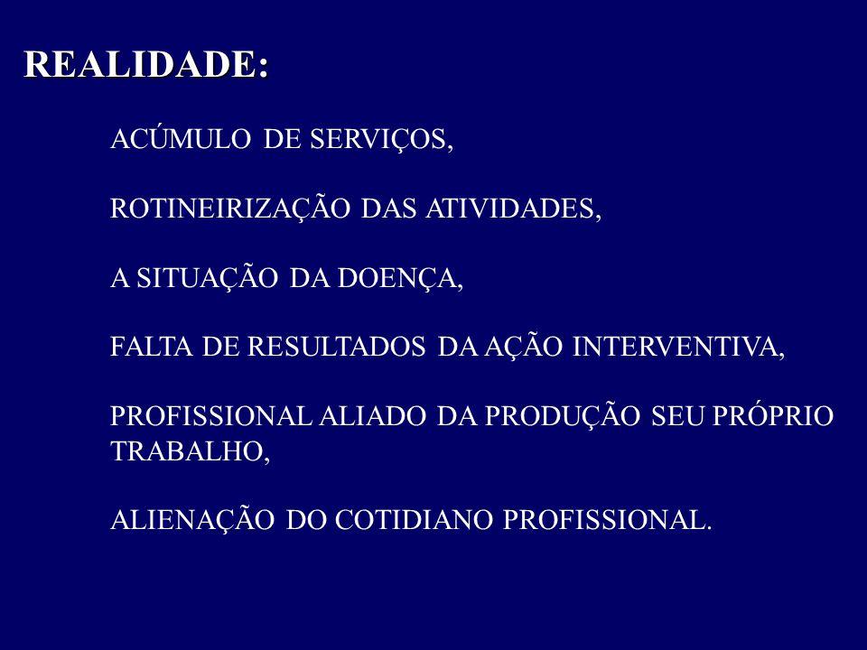 REALIDADE: ACÚMULO DE SERVIÇOS, ROTINEIRIZAÇÃO DAS ATIVIDADES,