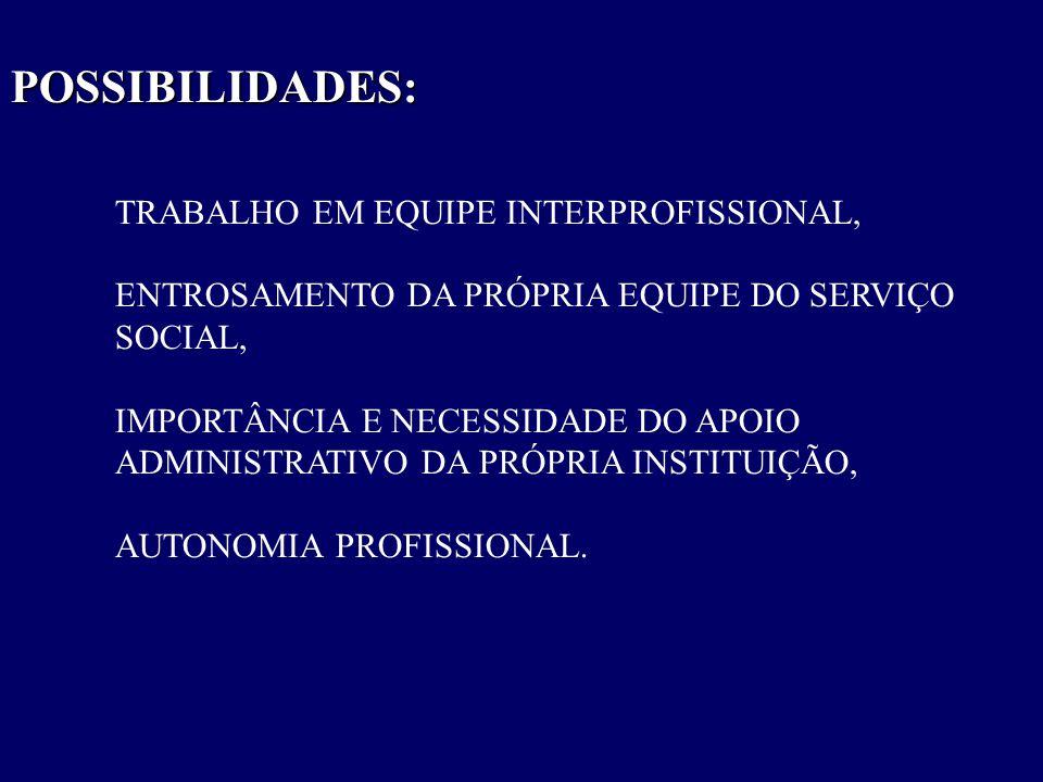 POSSIBILIDADES: TRABALHO EM EQUIPE INTERPROFISSIONAL,