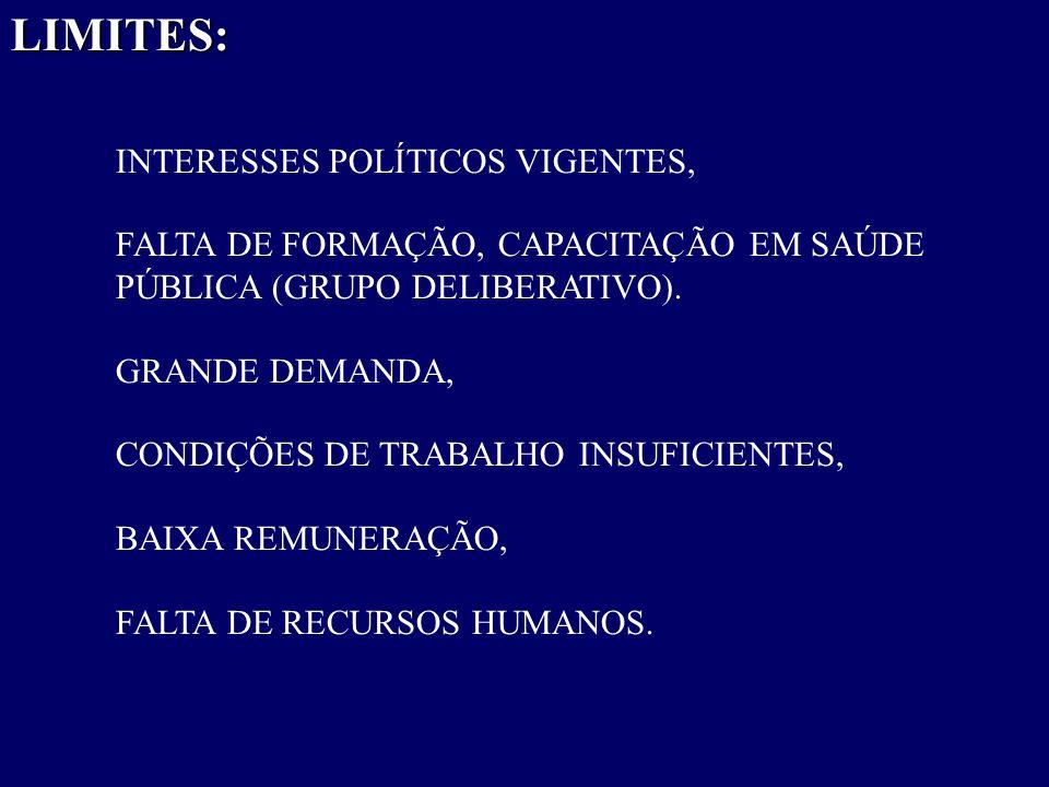 LIMITES: INTERESSES POLÍTICOS VIGENTES,