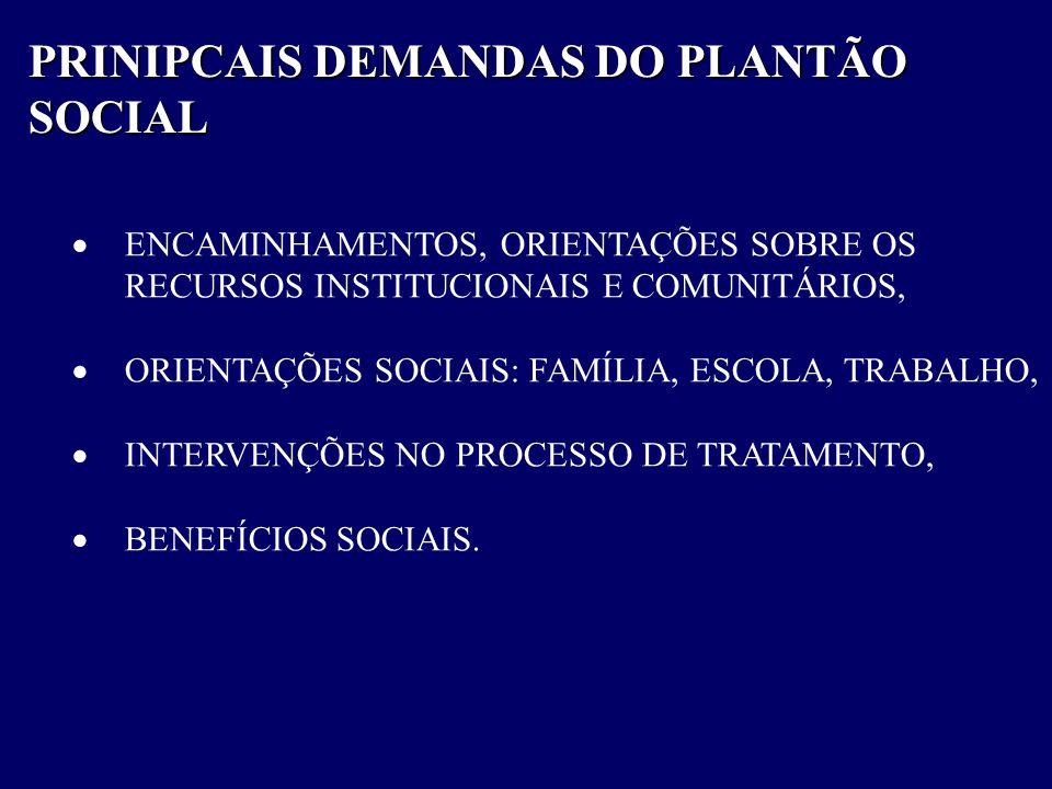 PRINIPCAIS DEMANDAS DO PLANTÃO SOCIAL