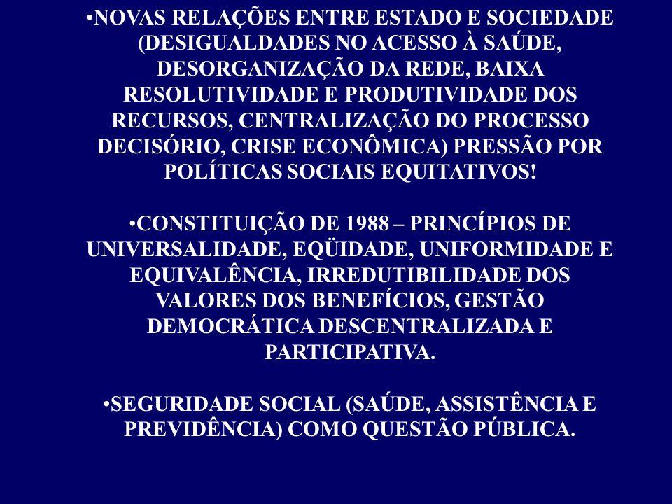 NOVAS RELAÇÕES ENTRE ESTADO E SOCIEDADE (DESIGUALDADES NO ACESSO À SAÚDE, DESORGANIZAÇÃO DA REDE, BAIXA RESOLUTIVIDADE E PRODUTIVIDADE DOS RECURSOS, CENTRALIZAÇÃO DO PROCESSO DECISÓRIO, CRISE ECONÔMICA) PRESSÃO POR POLÍTICAS SOCIAIS EQUITATIVOS!